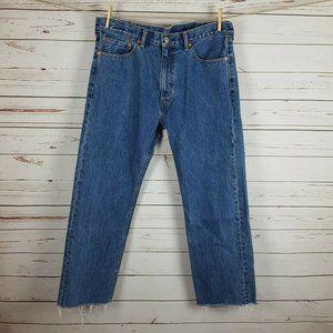 Levi's 505 Frayed Hem Straight Jeans 38x30